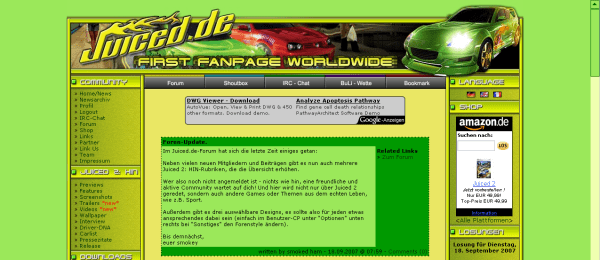 Juiced.de-Webseite: September 2007