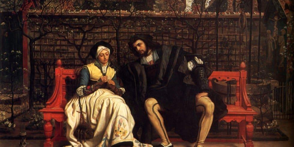 In Marthens Garten stellt Margarete (Gretchen) Faust die berühmte Frage. (Gemälde James Tissot, 1861)