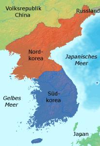 Nord- und Südkorea (Bild: Johannes Barre, GNU-Lizenz für freie Dokumentation, , Version 1.2)