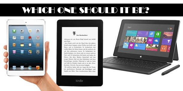 Amazon Kindle vs Apple iPad mini vs Microsoft Surface Pro (Bild: Amazon/Apple/Microsoft/eigenes)