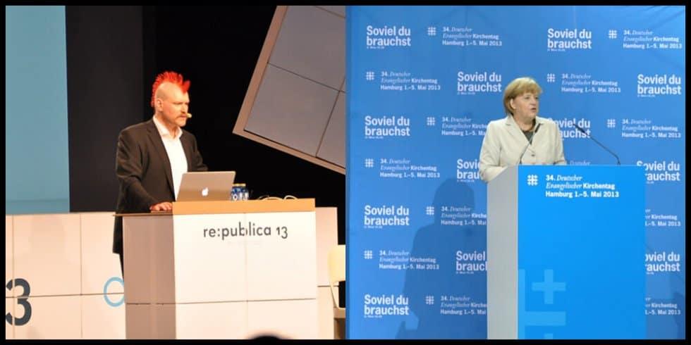 Sascha Lobo und Angela Merkel (Bild: Anna Lutz)
