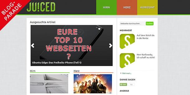 Blogparade: Eure Top 10-Webseiten