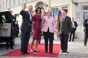 President and First Lady Obama with Chancellor Merkel