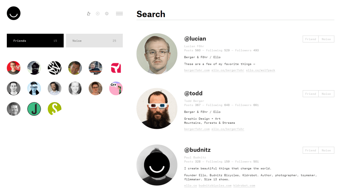 Ello-Search (Screenshot: eigenes)