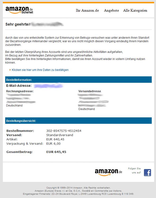 Amazon-Phishingmail (Screenshot: eigenes)
