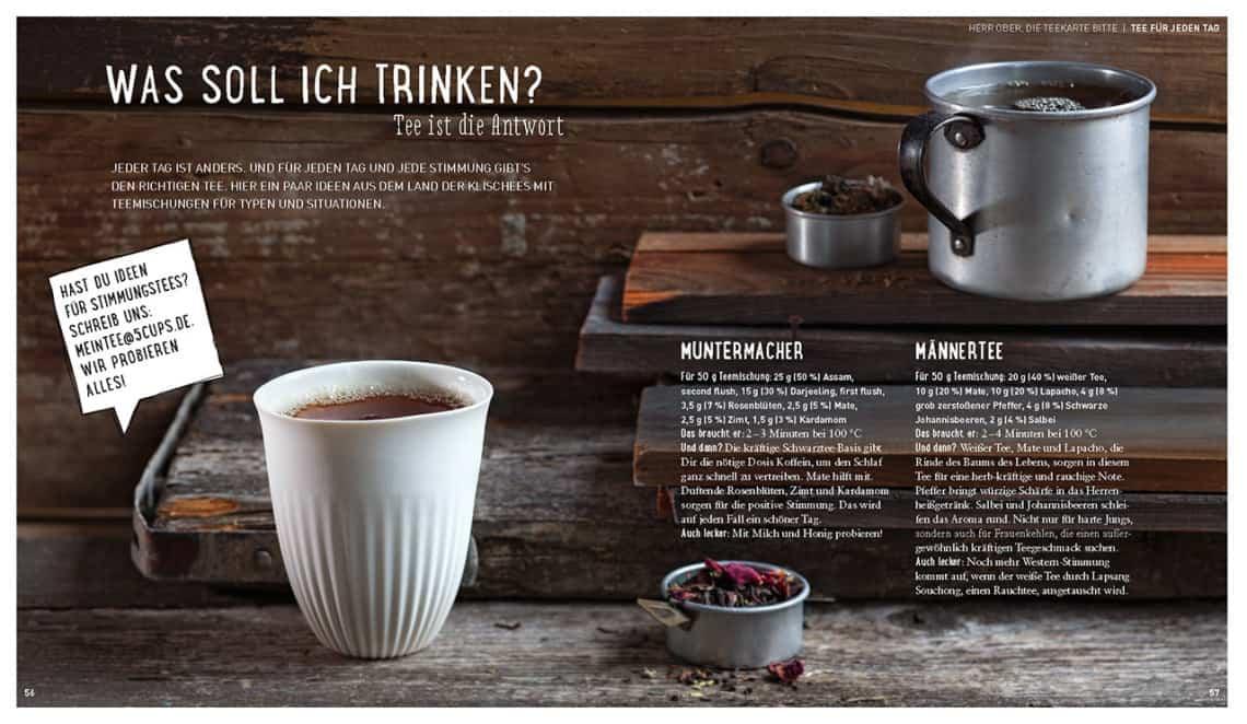 Tee. Wie man aus Wasser Freude macht - Kurzer Text (Bild: 5 CUPS and some sugar)